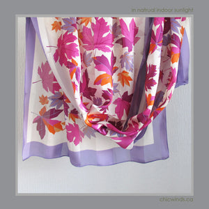 Maple Leaf Silk Scarf ( Purple )