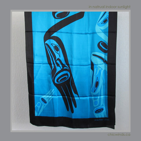 Dorothy Grant Native Art Silk Scarf - Eagle (Turquoise)