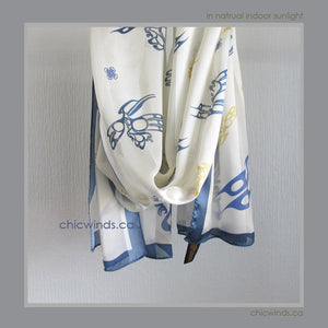 Hummingbird Silk Satin Scarf (Blue)
