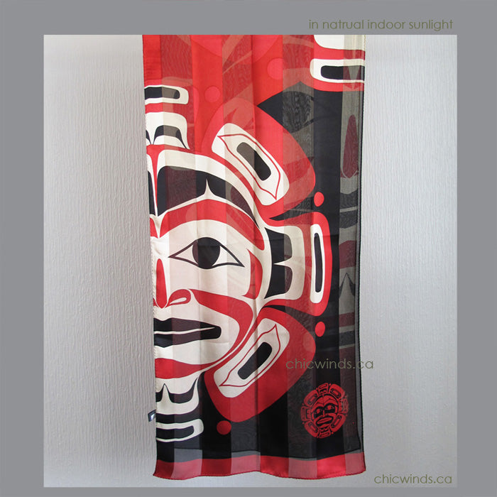 "Native Art ""Moon Mask"" Silk Scarf"