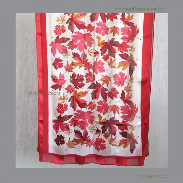 Maple Leaves Silk Scarf ( Red/White/Cream )
