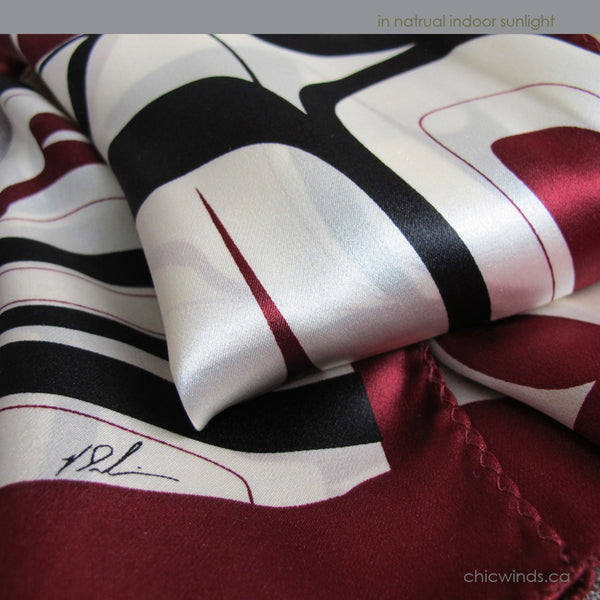 Kelly Robinson Abstract Eagle Silk Scarf (red/white/black)