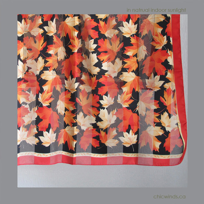 Maple Leaf Square Scarf (red/black)