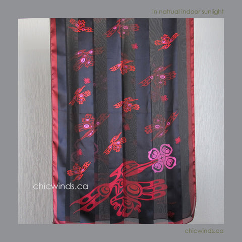 Dorothy Grant Hummingbird Silk Satin Scarf (red+black)