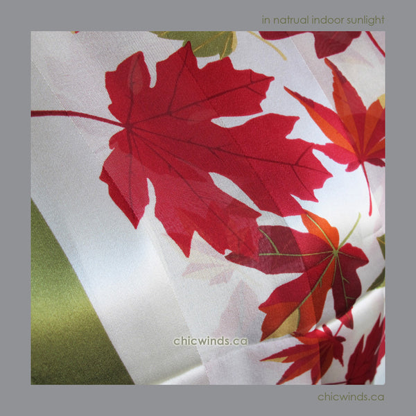 Maple Leaves Silk Scarf ( Green/Red/Cream )