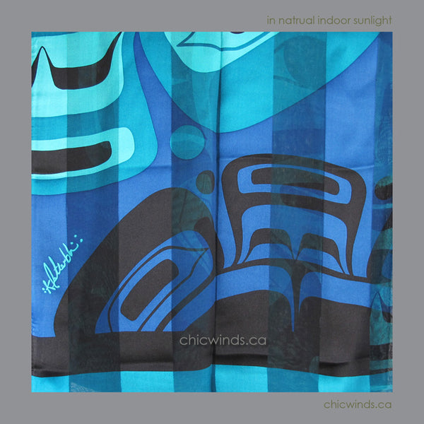 "Native Art ""Moon Mask"" Silk Scarf (Turquoise/Blue)"