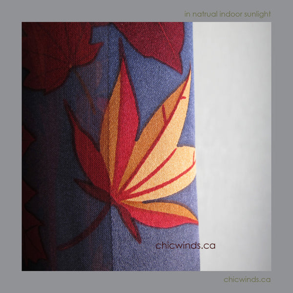 Maple Leaves Silk Scarf ( Red/Navy/Gold)