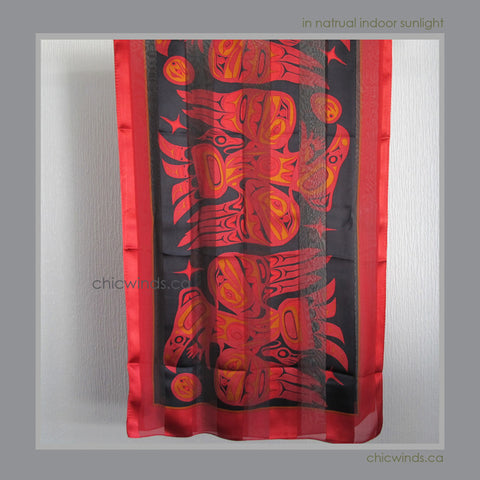 Bill Helin Native Art Silk Scarf - Raven (Burnt Red)