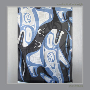 Corrine Hunt Native Art Printed Scarf - Whale (Blue/White)