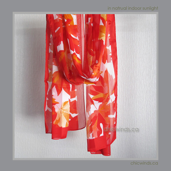 Maple leaf scarf ( Red )