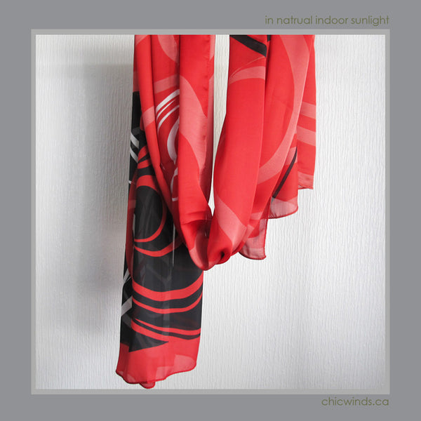 Connie Dickens Native Art Scarf – Raven (Red)
