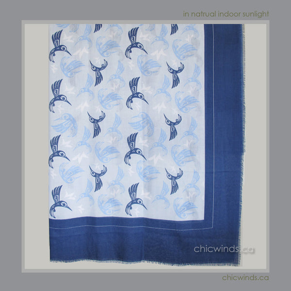 Bill Helin Hummingbird Soft Tribal Scarf / Wrap (Blue)