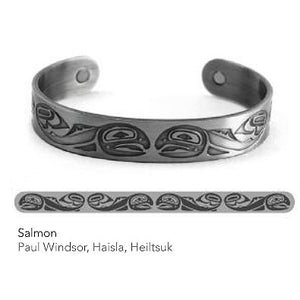 Silver Copper Bracelet: Salmon