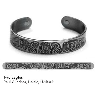 Silver Copper Bracelet: Two Eagles