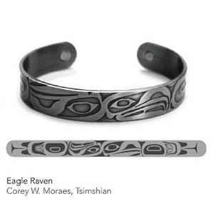 Silver Copper Bracelet: Eagle & Raven