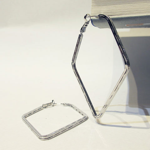 Diamond Shaped Statement Hoop Earring