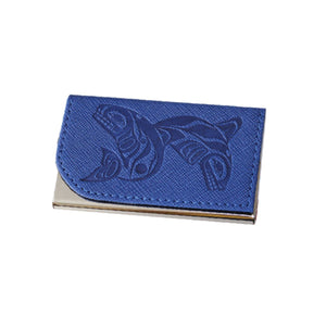 Card Holder - Whales by Paul Windsor (blue)