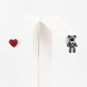 Crystal Red Heart & Bear Stud Earrings