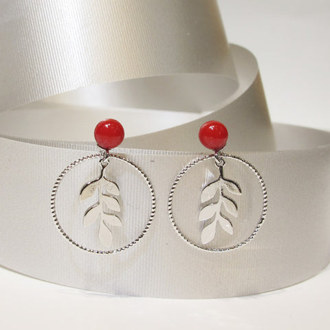 Leaf in Circle Stud Drop Earrings