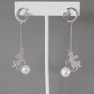 Moon, Star, Unicorn Galactic Earrings