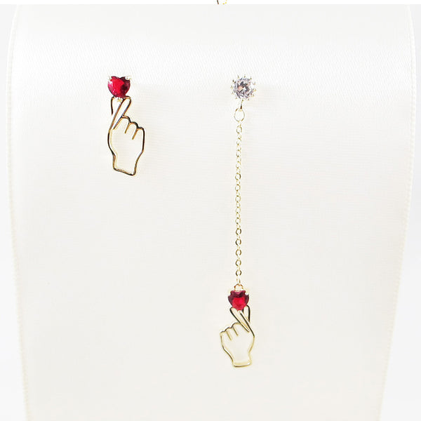 Hand Heart Crystal Stud Earrings