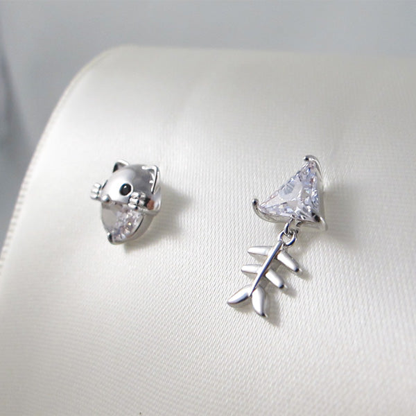 Cat & Fish Crystal Stud Earrings