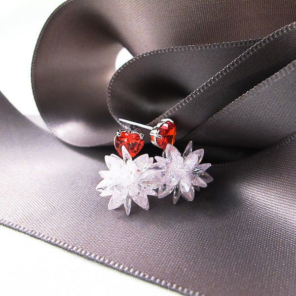 Handcrafted Red Heart Cubic Zirconia Sud Earrings