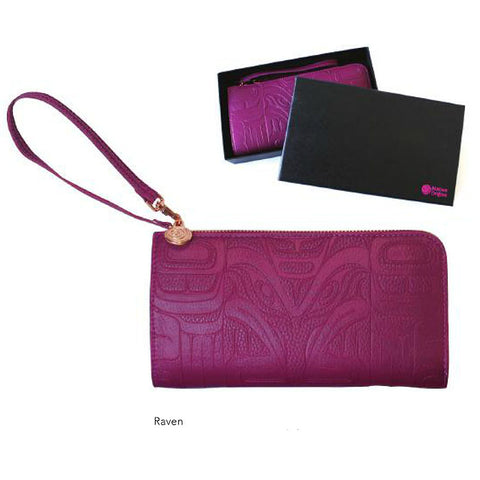 Embossed fashion clutches: Raven