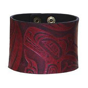 Debossed Leather Cuffs: Wolf