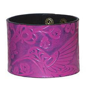 Debossed Leather Cuffs: Hummingbird