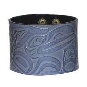 Debossed Leather Cuffs: Raven