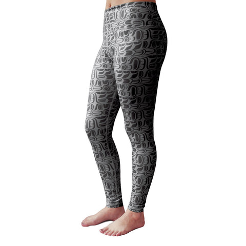 "Black Performance Leggings ""Pacific Formline"" by Paul Windsor"