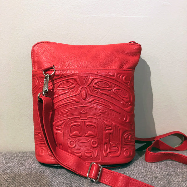 Deerskin Leather Compact Crossbody Bag - Bear Box (Red)