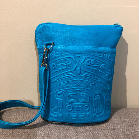 Deerskin Leather Compact Crossbody Bag - Bear Box (Turquoise)