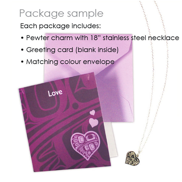 Art charm stainless steel necklace with card - Enlightening
