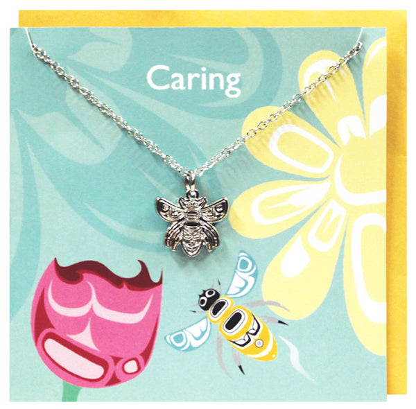 Art charm stainless steel necklace with card - Caring