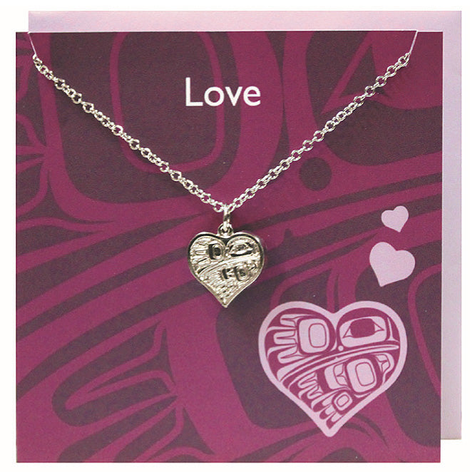 Art charm stainless steel necklace with card - Love