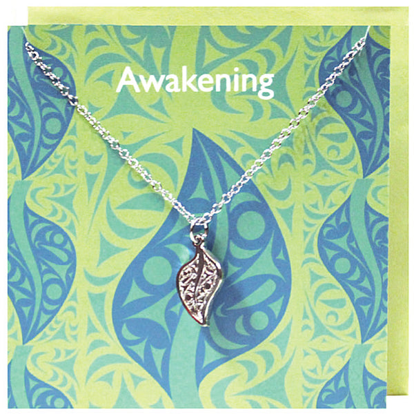 Art charm stainless steel necklace with card - Awakening