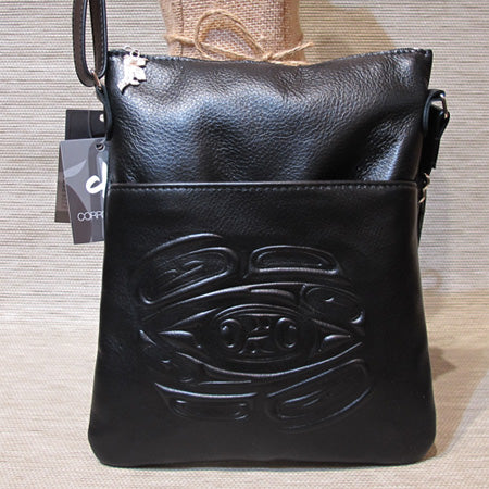 Leather embossed Solo Bag with a Raven Design - Black