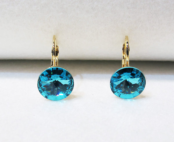 Solitaire Swarovski Crystal Earrings - Turquoise