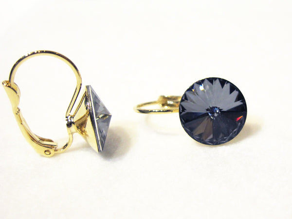 Solitaire Swarovski Crystal Earrings - Charcoal