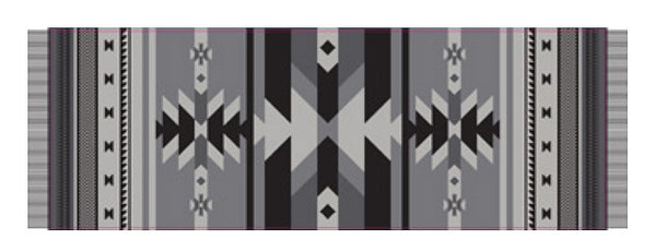 Salish Weaving Scarf/Shawl with Frist Nation Art Design (Black/Gray)