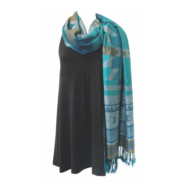Salish Weaving Shawl with North West Frist Nation Art Design (Teal)