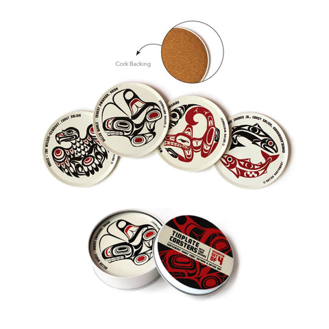 First Nation Art Assorted 4-Piece Tinplate Coaster Set (white)