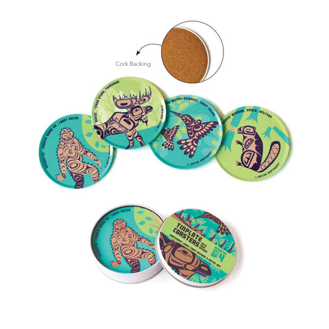 First Nation Art Assorted 4-Piece Tinplate Coaster Set (green)