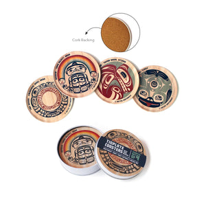First Nation Art Assorted 4-Piece Tinplate Coaster Set
