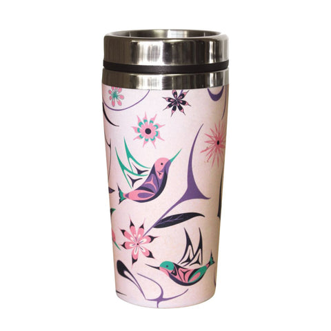 Bamboo Stainless Steel Travel Mug - Hummingbird