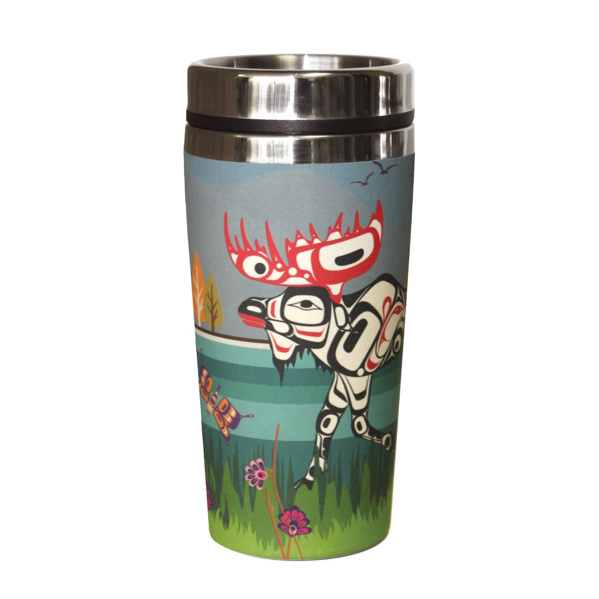 Bamboo Stainless Steel Travel Mug - Moose
