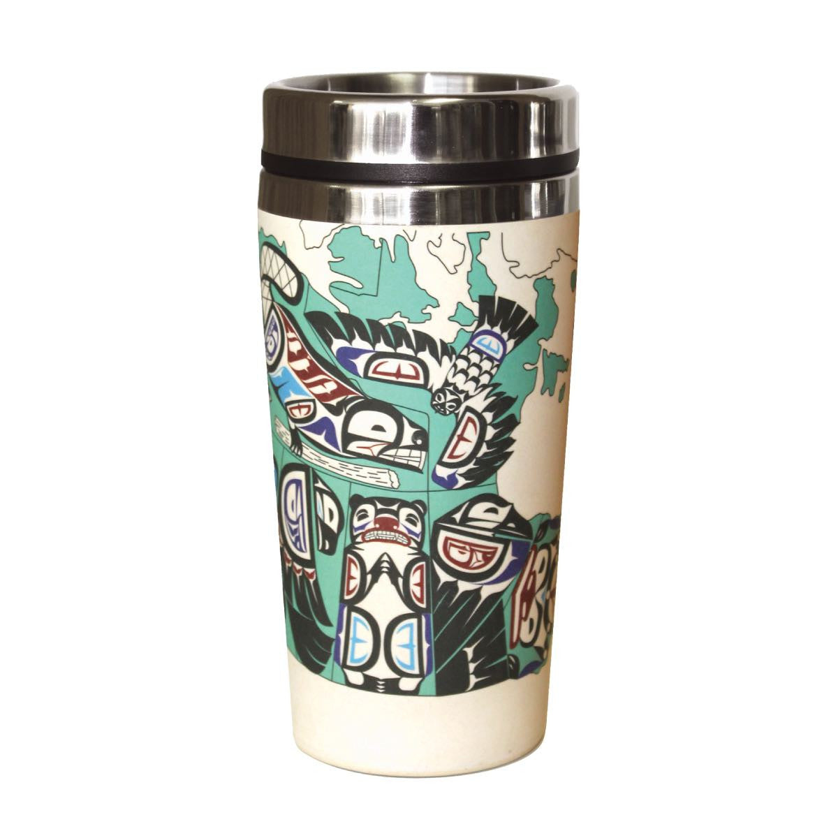 Bamboo Stainless Steel Travel Mug - Indigenous Canada