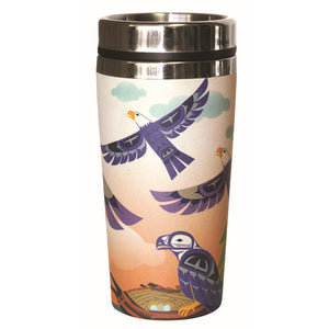 Bamboo Stainless Steel Travel Mug - Eagle Family